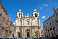 Malta, Medina: Central square with St. Paul church. Landscape of St. Paul church, built in Baroque architecture style in Medina, Malta. It is located at the stock photo