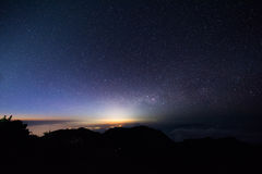 Landscape star and sunrise. At the mountain Royalty Free Stock Images