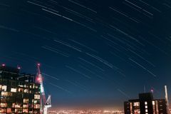 Landscape Star Trail. Cold Winter Star Trail stock photography