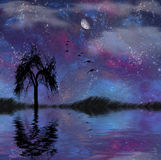 Landscape with stars. Moon and tree Royalty Free Stock Image