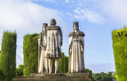 Landscape statue kings and Christopher Columbus in Alcazar. Background landscape statue Christian kings Ferdinand and Isabella and Christopher Columbus in the royalty free stock image