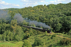 Landscape with a steam train Stock Photo