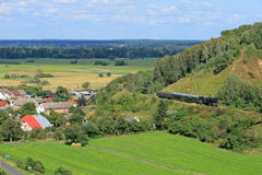 Landscape with a steam train Royalty Free Stock Photography