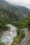 Landscape of steep mountains, river and a road at the Taroko National Park Royalty Free Stock Photos