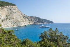 Landscape of steep rocky cliff, beautiful blue green sea and yacht. S at Porto Katsiki beach at Lefkada Royalty Free Stock Image