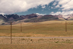Altai landscape: steppe mountains road Stock Images