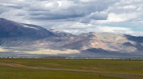 Landscape steppe mountains town Royalty Free Stock Photos