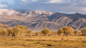 Landscape of the steppe and mountains in Western Mongolia. Autumn. Landscape of the steppe and mountains in Western Mongolia Stock Photo