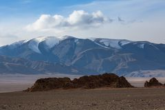 Landscape of the steppe and mountains in Western Mongolia. Travel. Landscape of the steppe and mountains in Western Mongolia Stock Photo