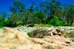 Landscape, stone, and the Shoalhaven River near Braidwood Stock Images