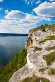 Landscape with stone cliff on the lake Royalty Free Stock Photography