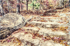 Landscape with Stone Steps going up a Mountain Royalty Free Stock Photos