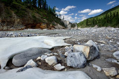 Landscape with stones and ice.Siberia,Russia,taiga Stock Photos