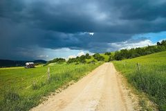 Landscape with storm clouds on Liptov in Slovakia royalty free stock image