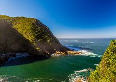 Landscape at the Storms River Mouth at the Indian Ocean Royalty Free Stock Photography