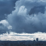Landscape with Stormy Sky and Industrial City Stock Photo