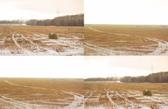 Landscape with straw bales Royalty Free Stock Photo