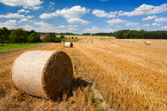 Landscape with straw bales Royalty Free Stock Photos