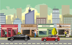 Landscape street with cars royalty free illustration