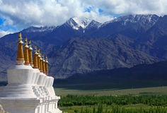Landscape with stupas in Himalayas Royalty Free Stock Image
