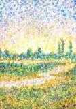 Landscape in style of pointillism. River in field