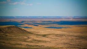 Landscape of Sudochye lake aka part of former Aral sea at Urga fishing village, Karakalpakstan, Uzbekistan. Landscape of Sudochye lake aka part of former Aral royalty free stock photography