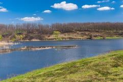 Landscape with Suha Sura river in Vasylivka village near Dnepr city, in central Ukraine royalty free stock image