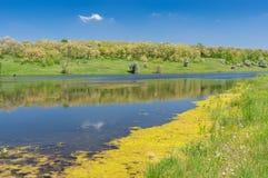 Landscape with Suha Sura river in Vasylivka village near Dnepr city, central Ukraine stock photos