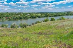 Landscape with Suha Sura river in Vasylivka village near Dnipro city, central Ukraine stock photo