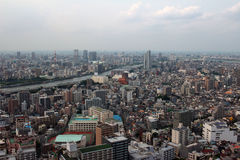 Landscape of Sumida-ku, which is viewed from the East Town of Tokyo Sky Tree. It is the scenery of the Sumida viewed from East Town of Tokyo Sky Tree Royalty Free Stock Images