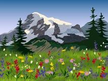 Landscape summer alpine medow poster Royalty Free Stock Photos