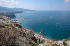 Landscape during summer from cliff in Amalfi coast, Italy royalty free stock image