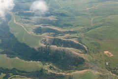 Landscape of the summer Crimea from the height of aircraft Royalty Free Stock Photos