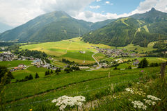 Landscape. Summer landscape with fields and mountains-Kals am Grossglokner ,Styria,Austria Stock Images