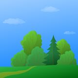 Landscape, summer, forest. Summer landscape: forest with green trees and the blue sky with white clouds Royalty Free Stock Photography