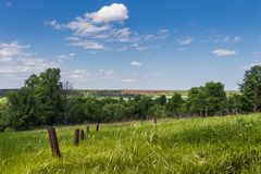 Landscape, summer, green grass and blue sky with clouds royalty free stock photos