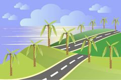 Landscape in the summer. Green hills, a grey asphalt road, blue sky, clouds, sea, palm trees. Modern flat design Royalty Free Stock Photos