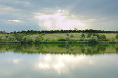 Landscape summer nature beauty river fores and sky Royalty Free Stock Photo