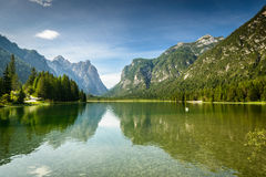Lago di Dobbiaco Italy Dolomites Stock Photo