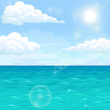 Landscape summer sea in the afternoon under sun. Sea summer landscape. Ocean, blue waves, sky, clouds, horizon and sun. Vector illustration of a square format Royalty Free Stock Photos