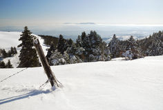 Landscape from the summit of the mountain. A wonderful view from the top of the mountain with snow Stock Photography