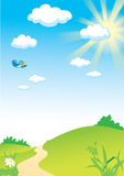 Landscape_with_sun_and_bird_rastr_only. Country landscape with sun and flying bird Stock Illustration