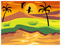 Landscape with sun Stock Photo