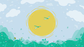 Landscape sun and meadow Royalty Free Stock Images