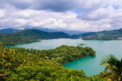 Landscape of sun-moon lake in Taiwan stock images