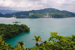 Landscape of sun-moon lake in Taiwan. Landscape of sun-moon lake under a clear sky royalty free stock photos