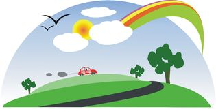 Landscape with Sun, rainbow, car, trees, clouds. Green landscape with rainbow, red car, trees, clouds, road, birds and sun Royalty Free Stock Image