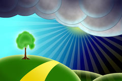 Landscape sun will be soon. Abstract landscape with sun will be soon stock illustration