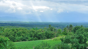 Landscape with sunbeam, Thailand Stock Image