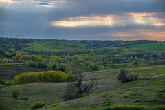 Landscape with sunbeams Royalty Free Stock Photo